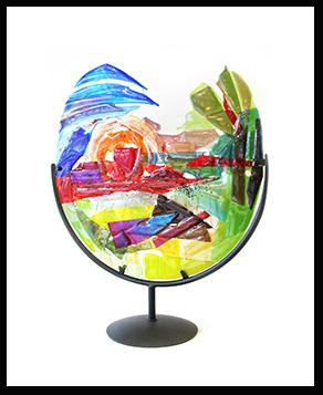 Glaskunst interieur object op voet