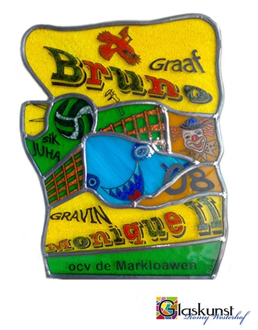 brandschilderen glas in lood logo
