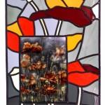 gebrandschilderd glas in lood raam klaprozen