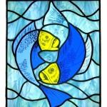 gebrandschilderd voorzetraam vissen
