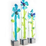 glazen bloemen in rvs steun