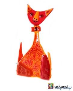 glazen kat rood oranje