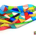 kleurrijke glazen schaal glasfusing