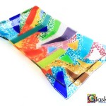 glaskunst schaal kleurrijk rechthoek