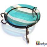 glazen schaaltje blauw in houder