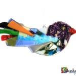 glazen vogel glasfusing - blauw paars